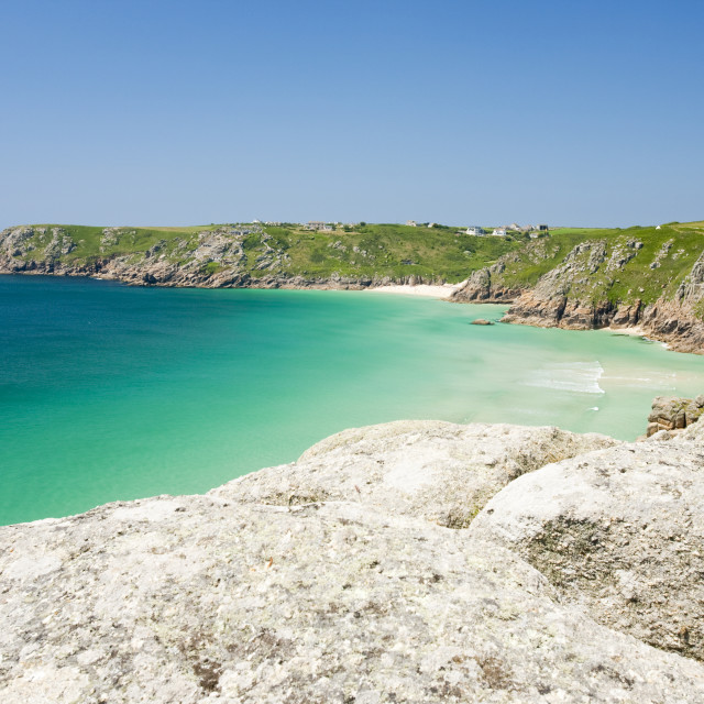 """Porthcurno beach in Cornwall, UK."" stock image"