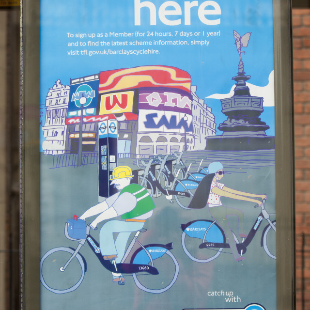 """A poster for the Barclays Cycle Hire scheme It makes cycling much safer and..."" stock image"