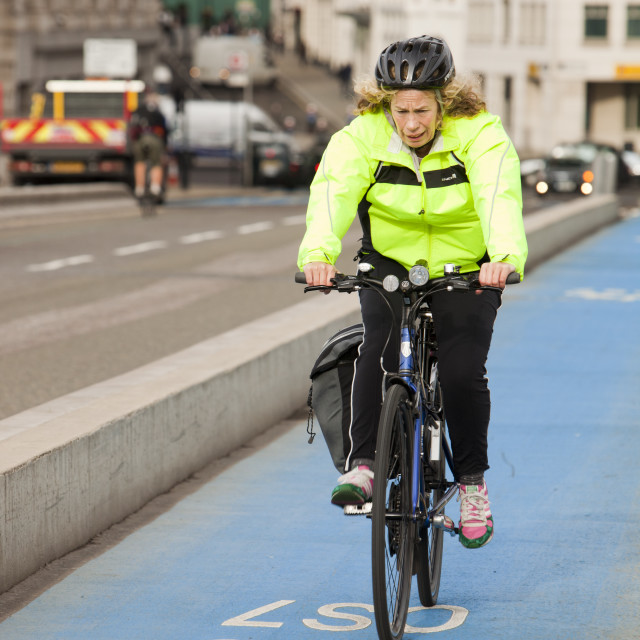 """A cyclist on one of the new Cycle Superhighways, in this case the CS7 that..."" stock image"