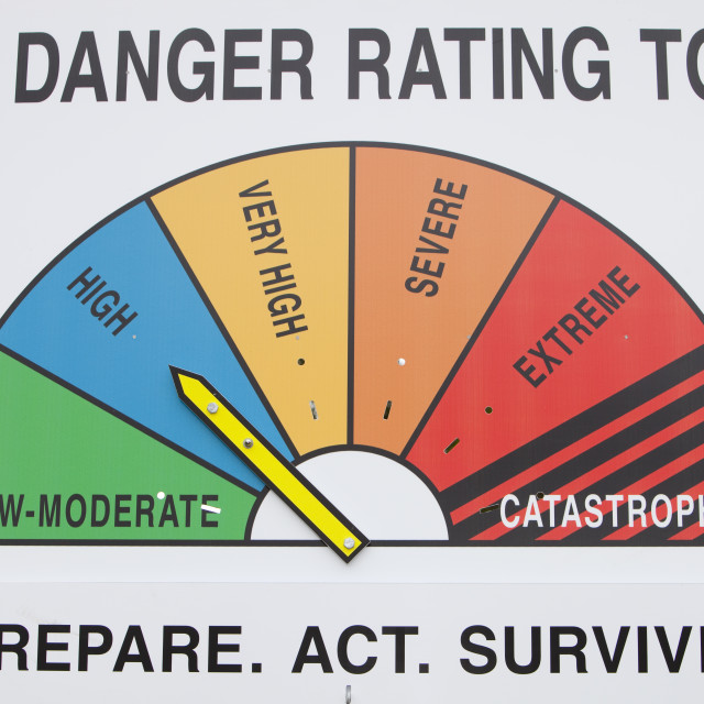 """""""A fire danger rating sign in the Snowy mountains, Australia."""" stock image"""