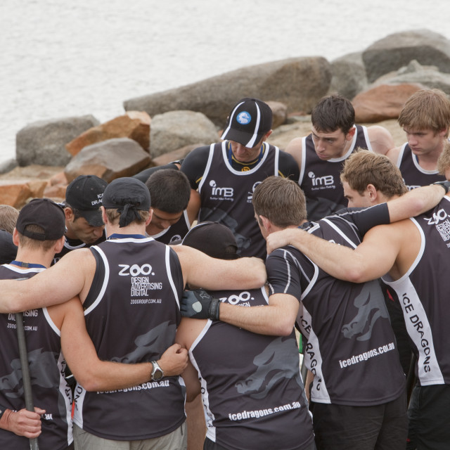 """Teams of dragon boat racers at Jindabyne in the Snowy mountains, Australia,..."" stock image"