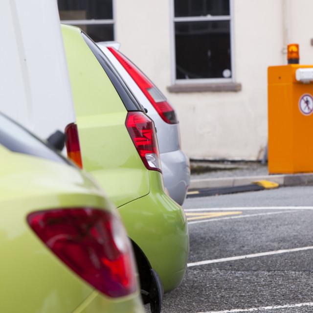 """Cars in a university car park, Bangor, North Wales."" stock image"