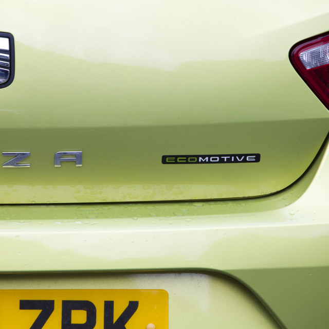 """A Seat Ibiza ecomotive car, whih does 76.3 mpg on a combined cycle and emits..."" stock image"