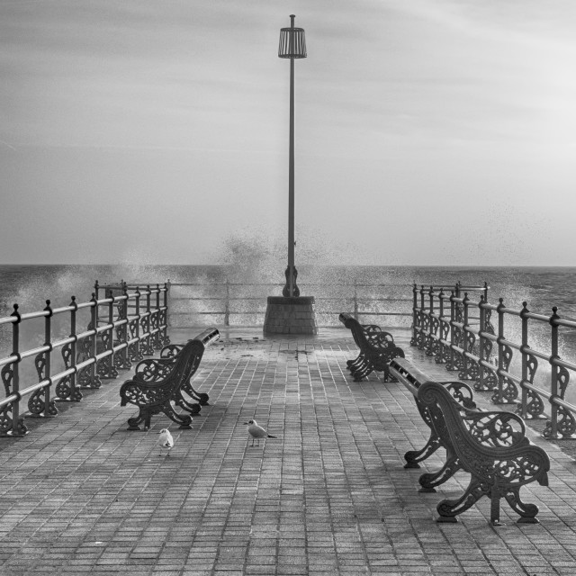 """Swanage Jetty in Mono"" stock image"
