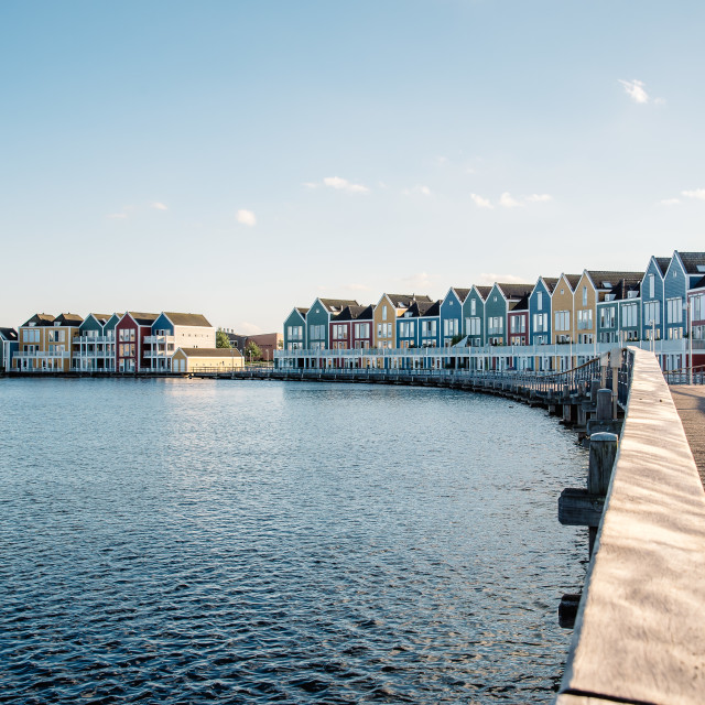 """""""Colorful row houses in Houten, Netherlands, at dusk and reflecti"""" stock image"""