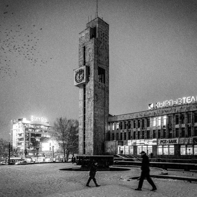 """Soviet Architecture, Winter Scene. Bishkek, Kyrgyzstan"" stock image"