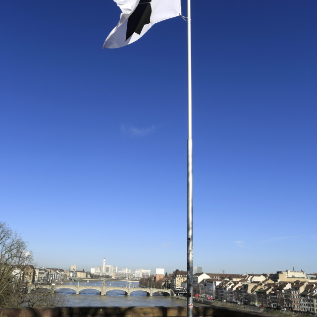 """The flag of Basel, Canton Basel Stadt, Switzerland, Europe"" stock image"