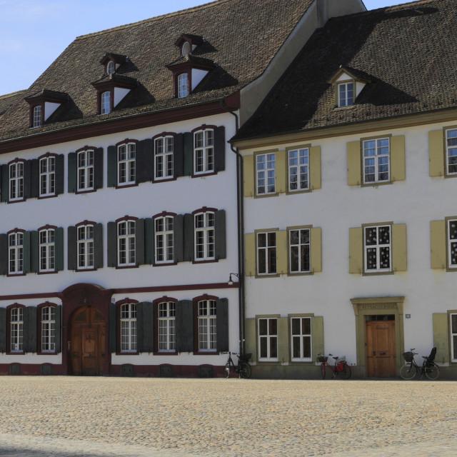 """Exterior details of Basel Cathedral Munster, city of Basel, Canton Basel..."" stock image"