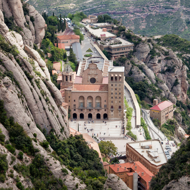"""Montserrat Monastery from Above"" stock image"