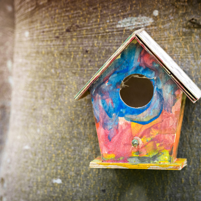 """""""Colorful bird house in childish colors"""" stock image"""