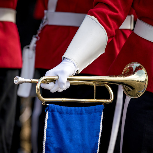 """Soldier in red uniform holding a golden trumpet"" stock image"