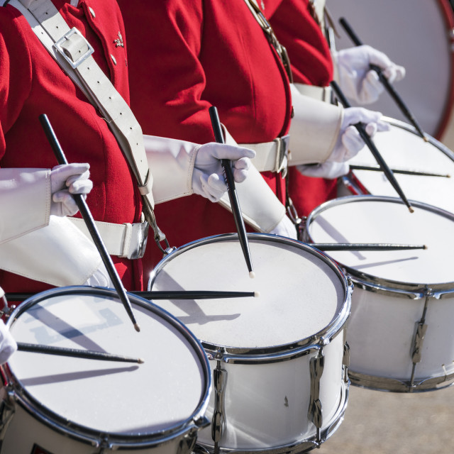 """Drummers in red uniforms on a row"" stock image"