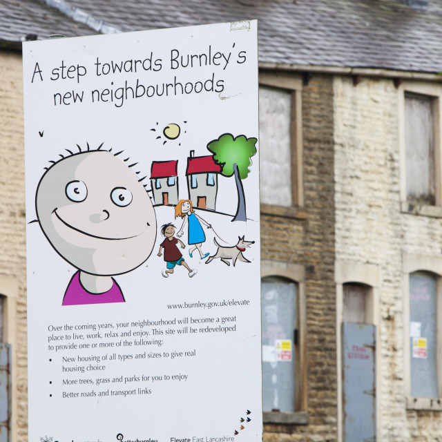 """""""Boarded up terraced houses in the Burnley Wood area of Burnley, Lancashire..."""" stock image"""