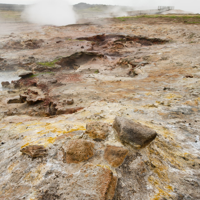 """""""Hot springs and geothermal ground on the Reykjanes peninsular, Icleand"""" stock image"""