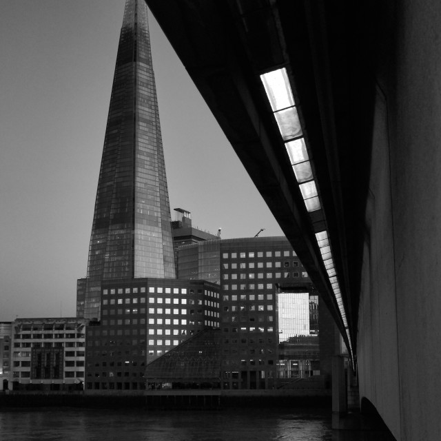 """The Shard from London Bridge"" stock image"
