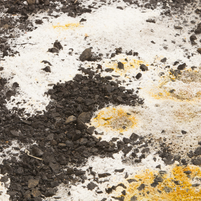 """""""Sulpher and other minerals on hot ground in a geothermal area of Icleand at..."""" stock image"""