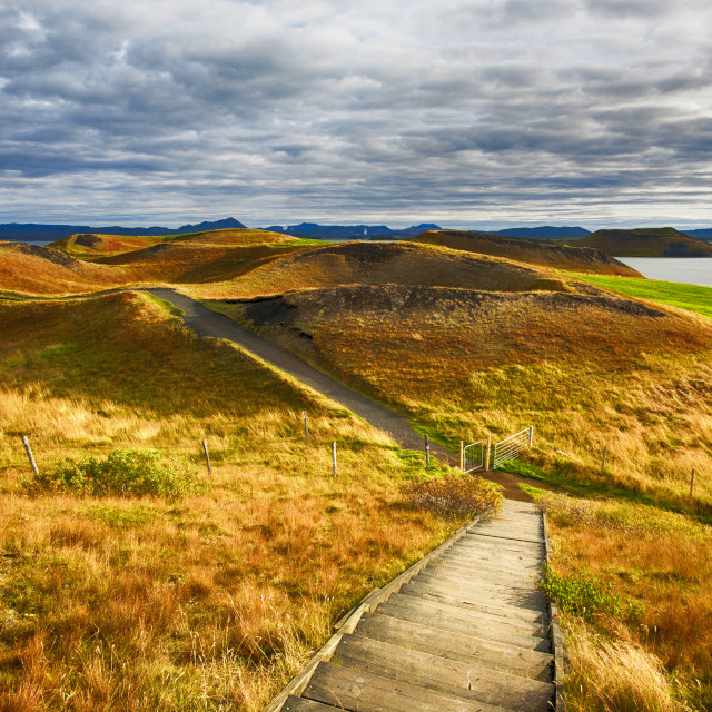"""""""Pseudo craters on the side of Lake Myvatn in Iceland. Pseudo craters are..."""" stock image"""