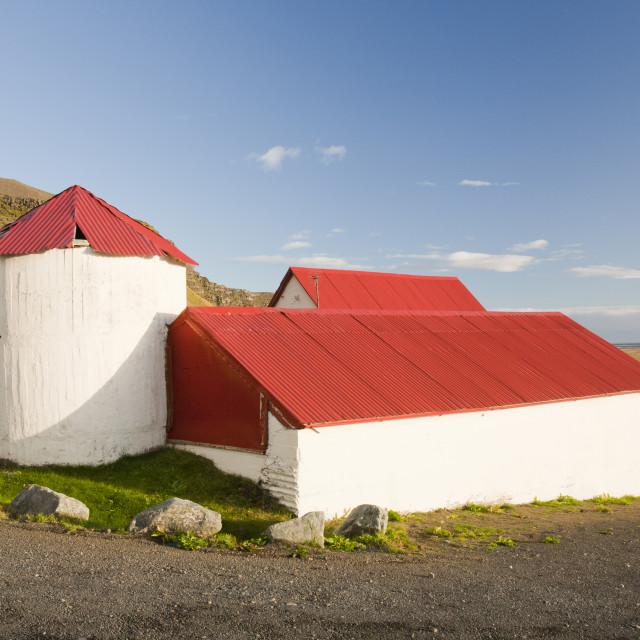 """A farmstead at Litla Hof on Iceland's south coast."" stock image"