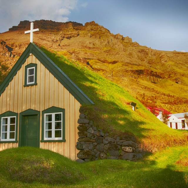 """""""A 19th century turf roofed church at Litla Hof on Iceland's south coast."""" stock image"""