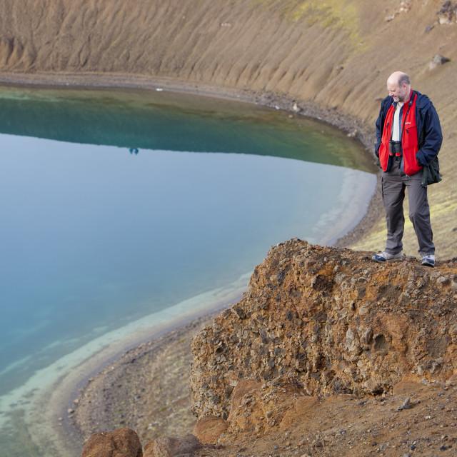 """Viti Crater on the side of Krafla mountain near Myvatn, northern Iceland."" stock image"