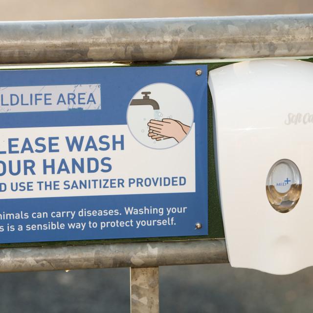"""A hand sanitizer at Martin Mere bird reserve near Ormskirk, Lancashire, UK."" stock image"