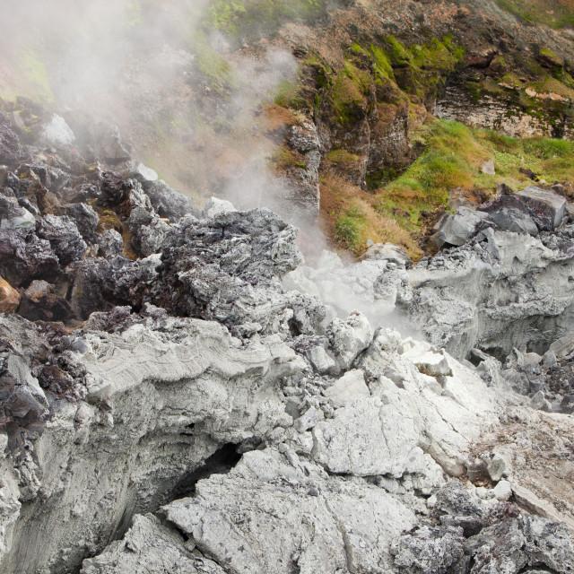"""A fresh lava flow that erupted during the Krafla fires at Leirhnjukur near..."" stock image"