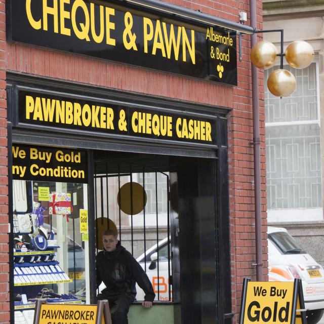 """A pawn shop in Blackburn Lancashire, UK."" stock image"