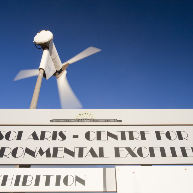 """A wind turbine outside the Solaris Centre, a climate change exhibition run by..."" stock image"