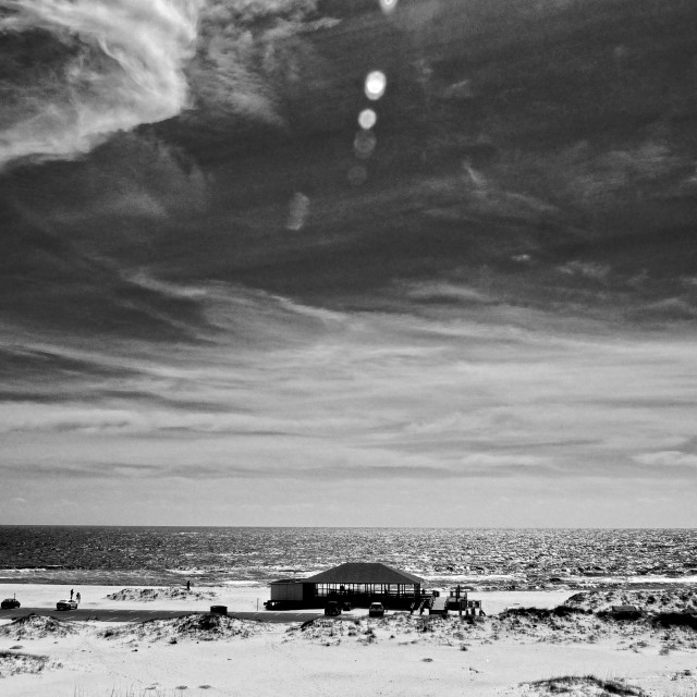 """Langdon Beach (B&W)"" stock image"