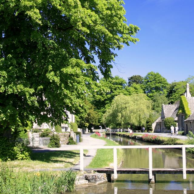 """""""Summer, June, July, Cottages; river Windrush; Lower Slaughter village,..."""" stock image"""