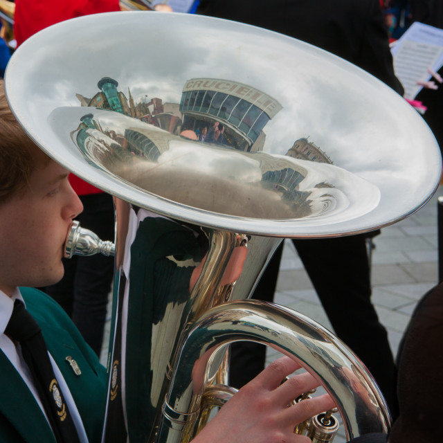 """Massed bands outside the Crucible theatre, Sheffield"" stock image"