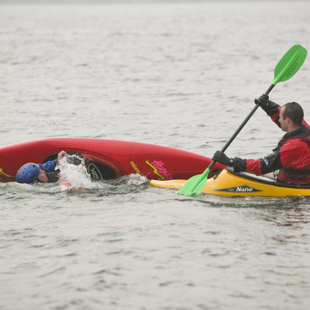 """Canoeist on Ullswater Lake District UK"" stock image"
