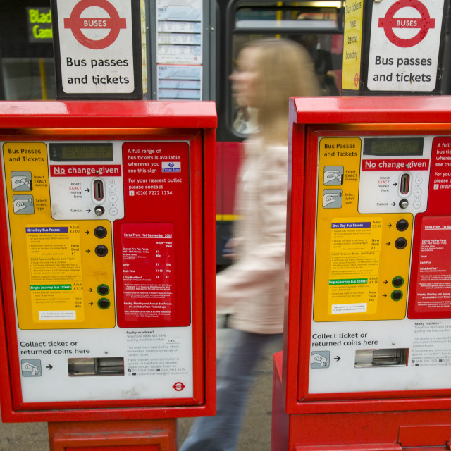 """A ticket machine for London Buses"" stock image"