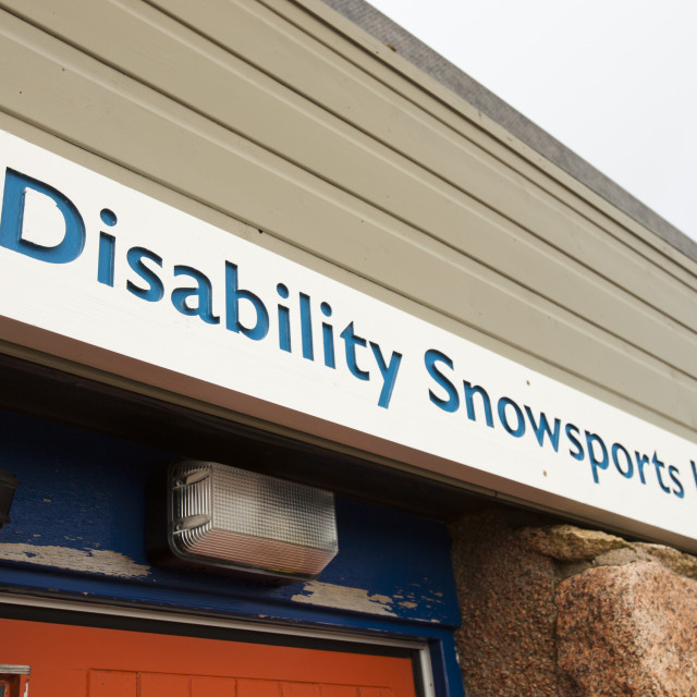 """A disabled skiing charity at Cairngorm, Scotland, UK."" stock image"