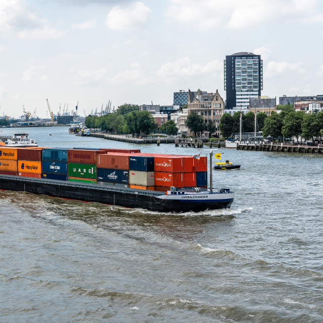"""""""Container ship in Rotterdam."""" stock image"""