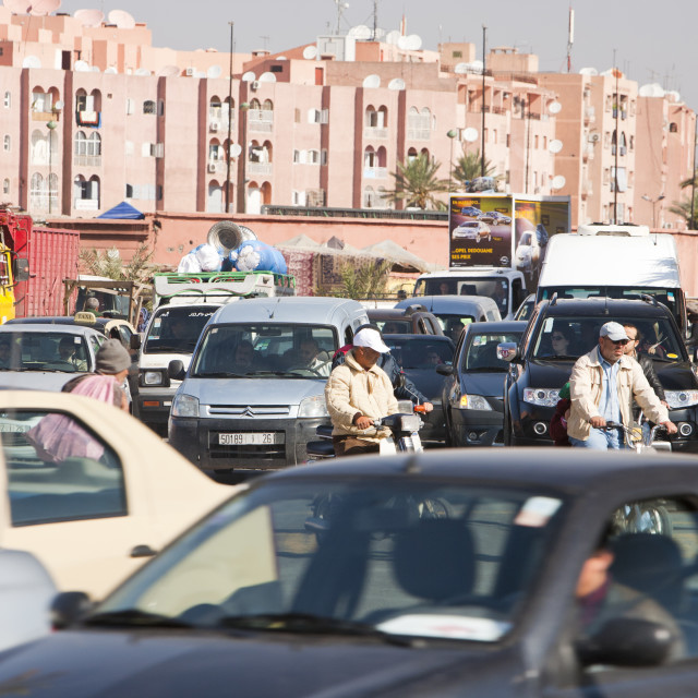 """""""Gridlocked traffic on the streets of Marrakech, Morocco, Africa."""" stock image"""