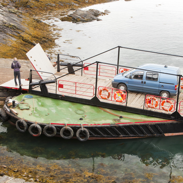 """The Glenelg ferry, which has a swivel turntable, Isle of skye, Scotland, UK."" stock image"