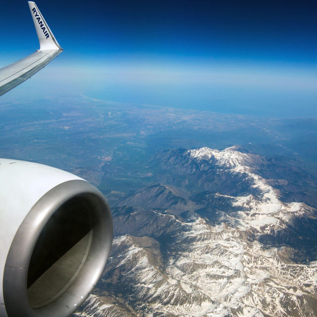 """Ryanair Flight over the Pyrenees"" stock image"