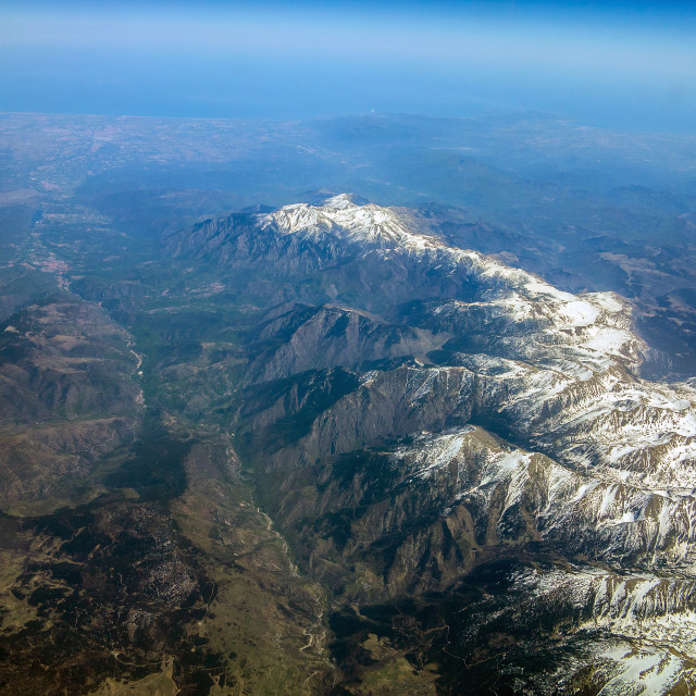 """The Pyrenees from the Air"" stock image"