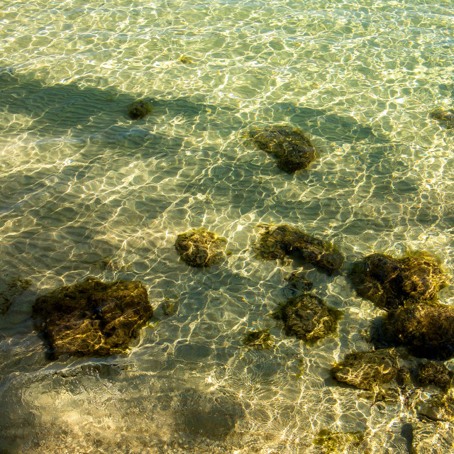 """""""Rocks and Shadows in Clear Water, Mallorca"""" stock image"""