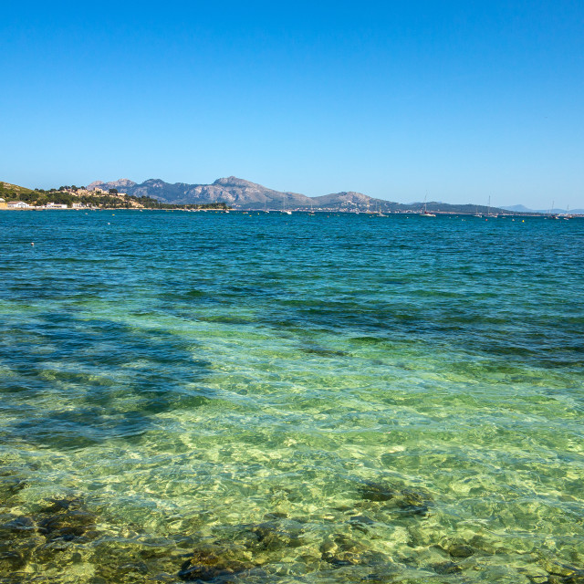 """Clear Waters of Pollenca Bay, Mallorca"" stock image"