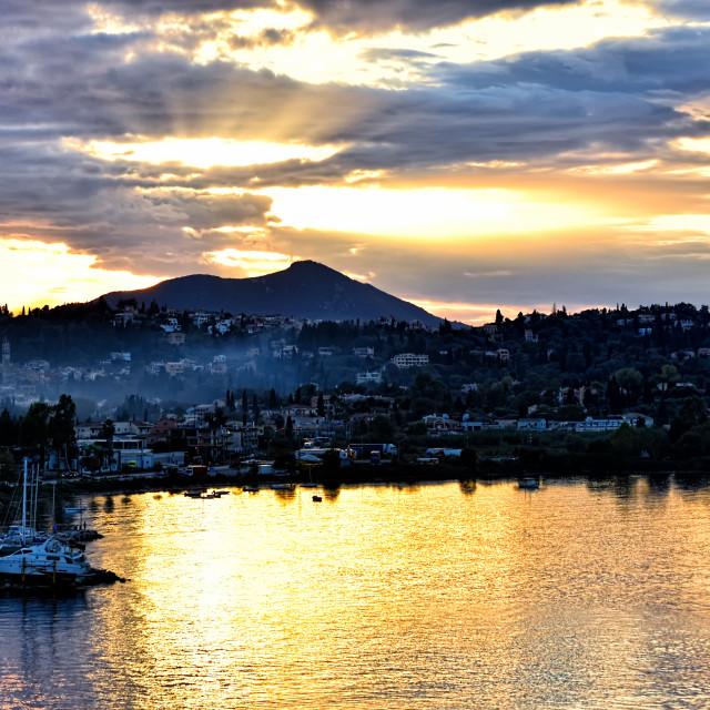 """Corfu sunset"" stock image"