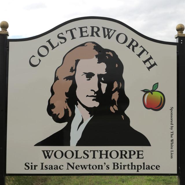 """Colsterworth village sign, South Kesteven, Lincolnshire, England."" stock image"