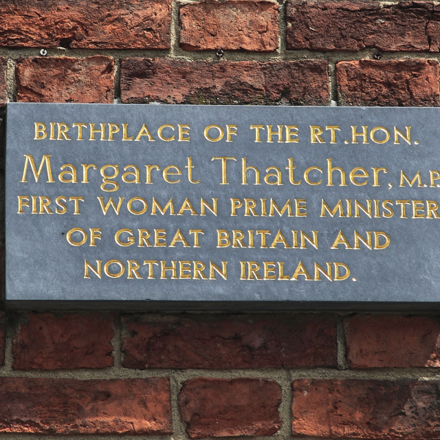 """Plaque marking the birthplace of British Prime Minister, Mrs Margaret..."" stock image"