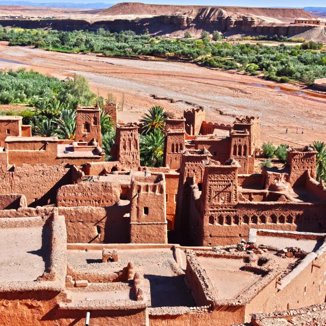 """Ait Benhaddou, ancient fortification, near the city of Warzazat"" stock image"