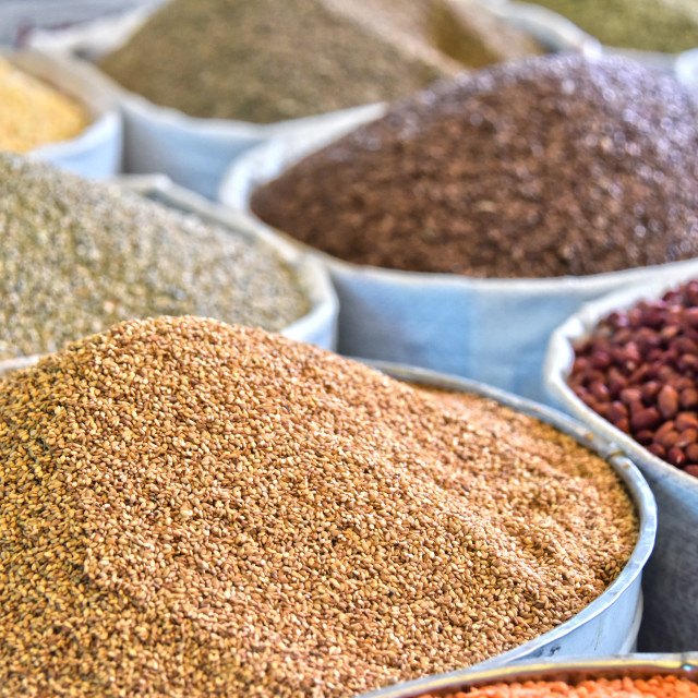 """Dried food products on the arab street market stall"" stock image"