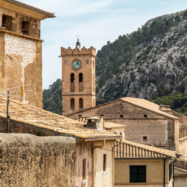 """Old Town Pollenca and Mountain Backdrop, Mallorca"" stock image"
