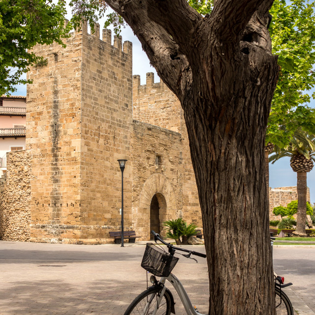 """Fortified gate of Alcudia, Mallorca"" stock image"