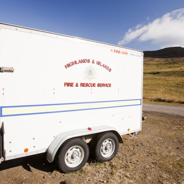 """The Eigg Fire Brigade trailer, housing their equipment, on the Isle of Eigg,..."" stock image"