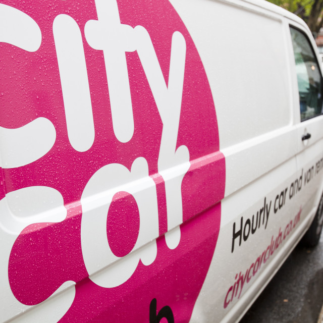 """A City Car, part of a car sharing scheme in London, UK."" stock image"